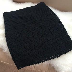 Black Crochet Pencil Skirt